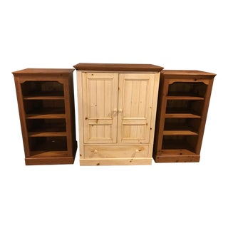 Ethan Allen Farmhouse Pine Entertainment Center & Bookcases - 3 Pc. Set For Sale