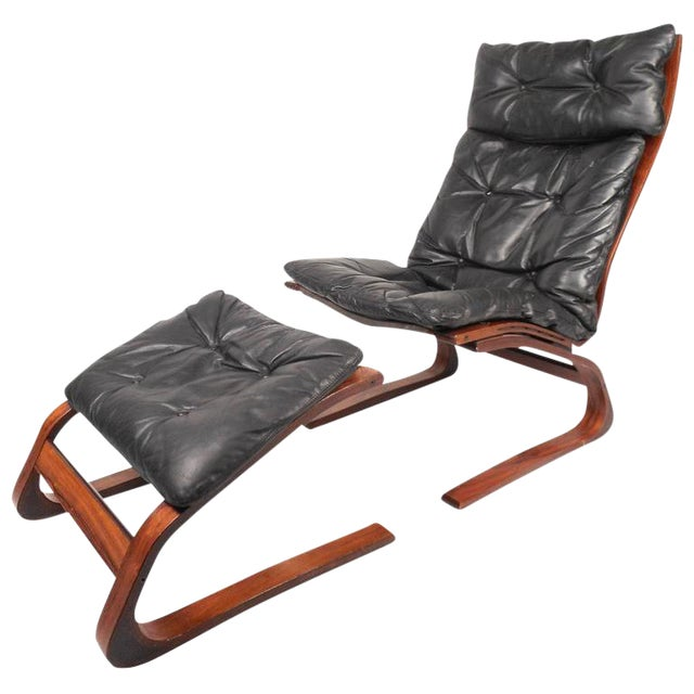 Ingmar Relling Mid-Century Leather Lounge Chair & Ottoman For Sale