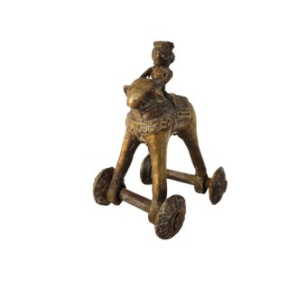 Antique Bronze Temple Toy | Indian Rolling Detailed Bronze Metal Animal Statue For Sale