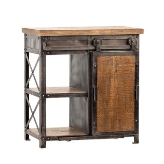 Salvaged Mango Wood & Iron Side Table For Sale