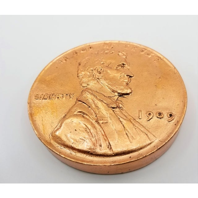 Pop Art Vintage Sculpture of an Overscaled Copper Penny - Signed and Dated - Andy Warhol Abstract Mid Century Modern Surrealism Palm Beach For Sale In Miami - Image 6 of 13