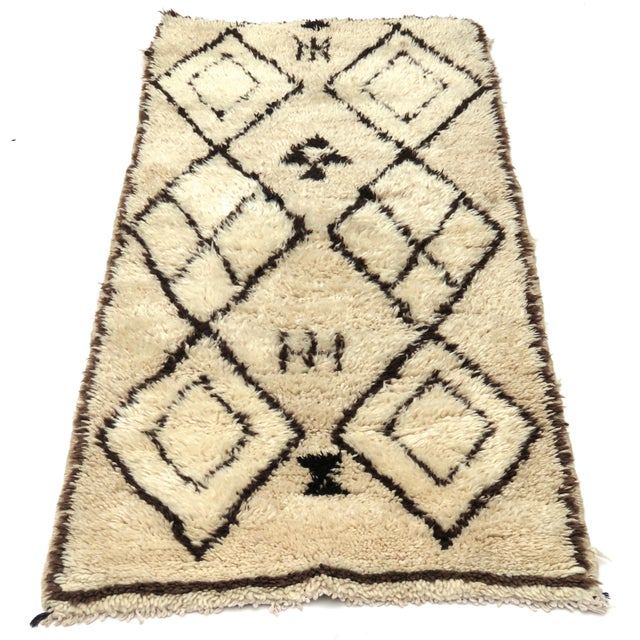 Vintage tribal Azilal runner handwoven with beige and brown wool in a diamond pattern. Dimensions: 2'5 x 6'2