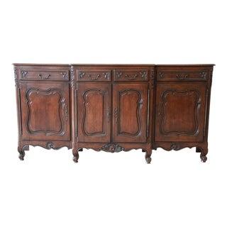 Antique Dark Oak French Provincial Sideboard