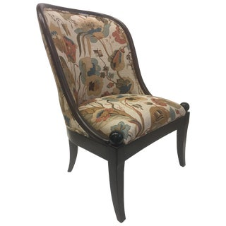 Beautiful Walnut and Tapestry Curved Club Chair by Baker For Sale