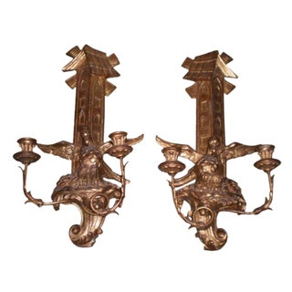 1920s Antique Continental Gilt Wood Two Light Candle Sconces - A Pair For Sale