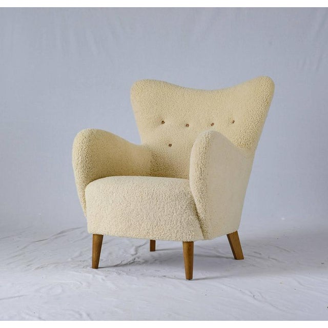 Scandinavian Sheepskin Lounge Chair - Image 3 of 10