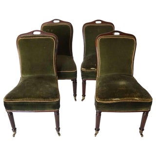 Vintage English Regency Casino Chairs- Set of 4 For Sale