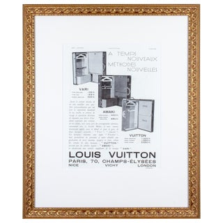 1930s Framed French Louis Vuitton Luggage Print Ad For Sale