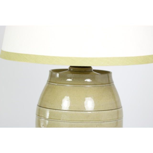 Green Pale Green Glazed Spirit Barrel, English Circa 1880 Mounted and Wired as a Table Lamp With Linen Shade For Sale - Image 8 of 13