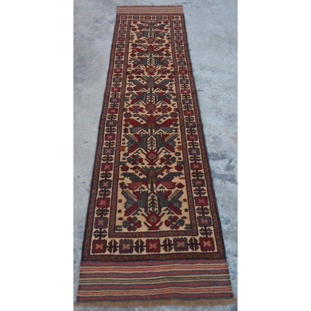 "Textile Vintage Turkish Kilim Rug Runner - 2'7"" x 11'10"" For Sale - Image 7 of 7"