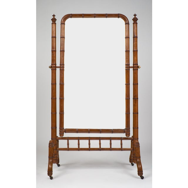 "Antique Napoleon III period English bamboo style ""Psyche"" standing cheval mirror. Tilting, full-length floor mirror with..."