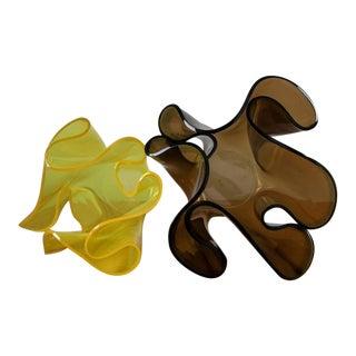 """Pair of """"Cartoccio"""" Plexiglass Vases by Guzzini For Sale"""