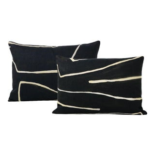 "12"" X 18"" Graffito Onyx + Beige Lumbar Pillows - a Pair For Sale"