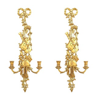 20th Century French Louis XV Style Musical Giltwood Sconces - a Pair For Sale