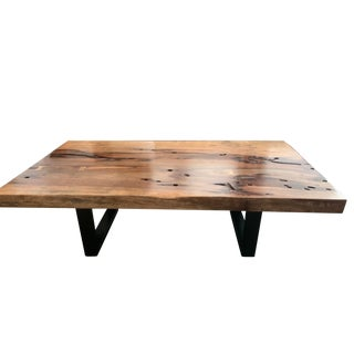 Industrial Reclaimed Wood Coffee Table For Sale