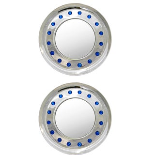 Italian Modern Nickel Round Mirrors With Jewel Like Blue Murano Glass Rocks - a Pair For Sale