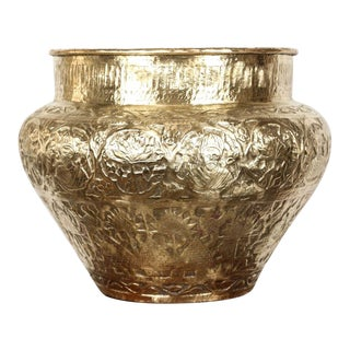 Persian Mameluke Hand Etched Repousse Brass Cache Pot For Sale
