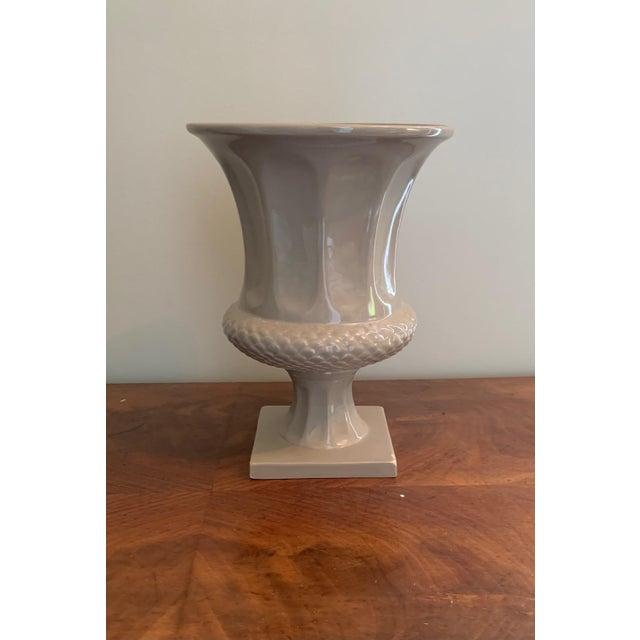 Ceramic Taupe Decorative Urn Shaped Vase For Sale - Image 7 of 7