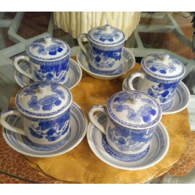 Blue 15 Piece Blue and White Chinoiserie Greek Key Lidded Coffee Mugs and Saucers For Sale - Image 8 of 9