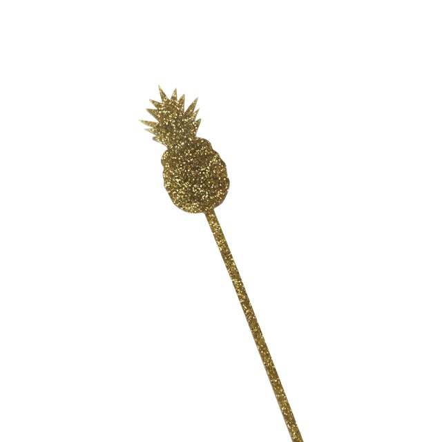 Gold Glitter Pineapple Drink Stirrers - Set of 6 - Image 1 of 5