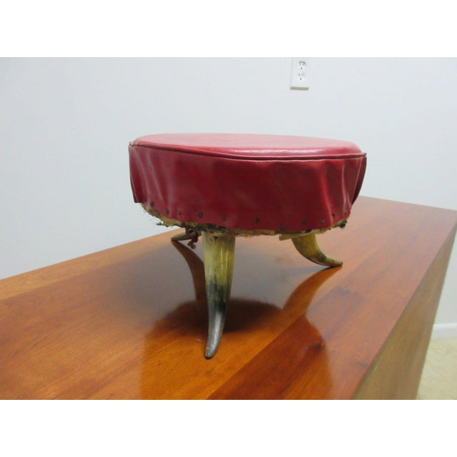 Mid-Century Modern Antique Steer Cow Horn Footstool For Sale - Image 3 of 9