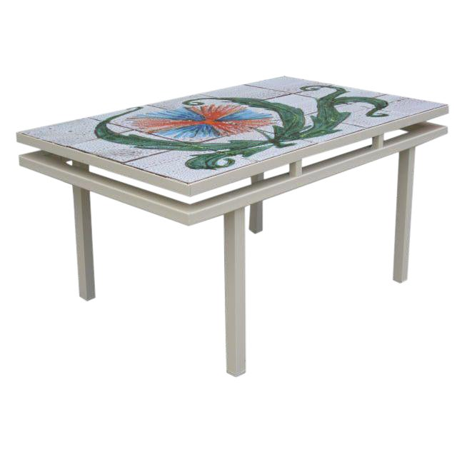 Charming Mid-Century French Tiled Coffee Table - Image 1 of 4