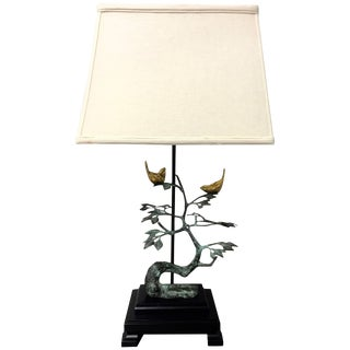 Frederick Cooper Birds on Tree Sculptural Brass and Bronze Table Lamp For Sale