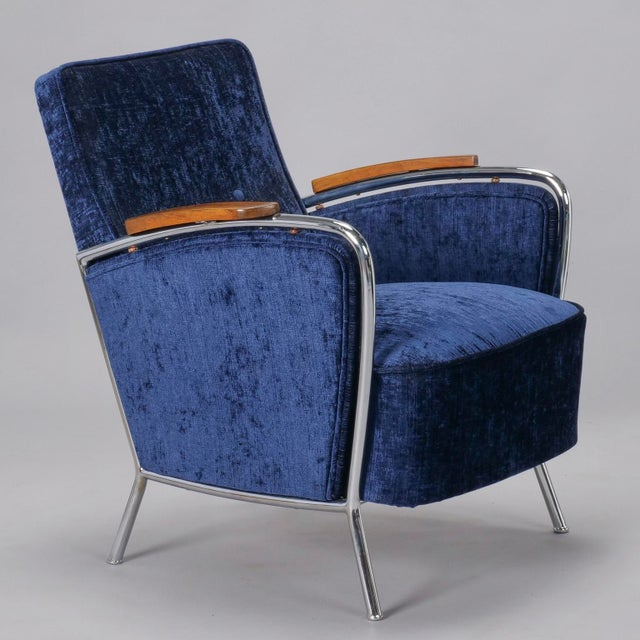 Pair of Bauhaus Steel and Wood Club Chairs For Sale - Image 5 of 10