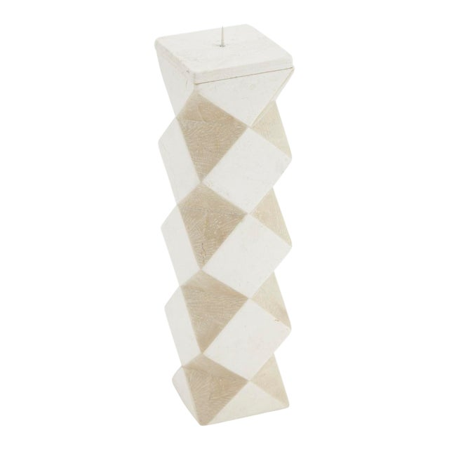 1990s Convertible Faceted Postmodern Tessellated Stone Candlestick or Vase For Sale