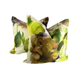 Contemporary Palace Flower Grande Moss Custom Pillows - a Pair For Sale