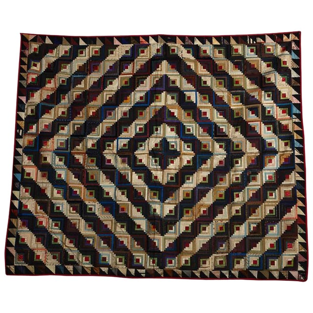 Antique Log Cabin Barn Raising Pieced Silk Quilt For Sale