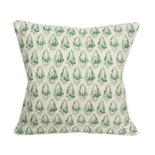 "Jalisa Indian Green Print Decorative Pillow Cover - a Pair, 20x20"" For Sale"
