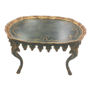 1950s French Handmade Gold Gilded Coffee Table For Sale