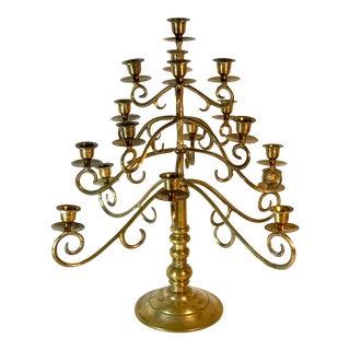 Vintage Solid Brass 17 Candle Candelabra For Sale
