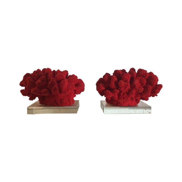 Faux Red Coral Bookends - A Pair - Image 1 of 5