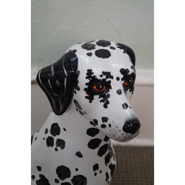 1970s Vintage Italian Pottery Dalmatian Dog Statue For Sale - Image 5 of 10