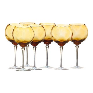 1970s Hand Blown Amber Red Wine Glasses - Set of 7 For Sale