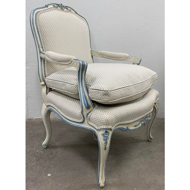 Textile Pair of French Style Carved & Upholstered Arm Chairs C.1940s For Sale - Image 7 of 10