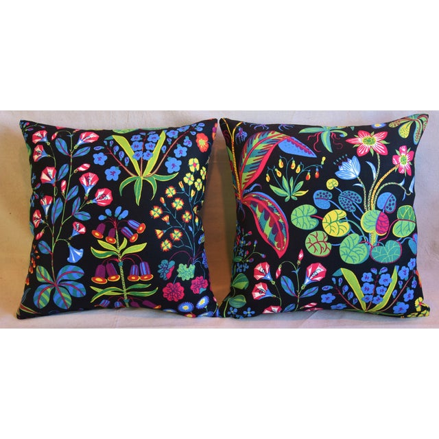 "Pair of custom-tailored double-sided pillows in designer Josef Frank/Svenskt Tenn ""Under Ekatorn"" printed linen fabric..."