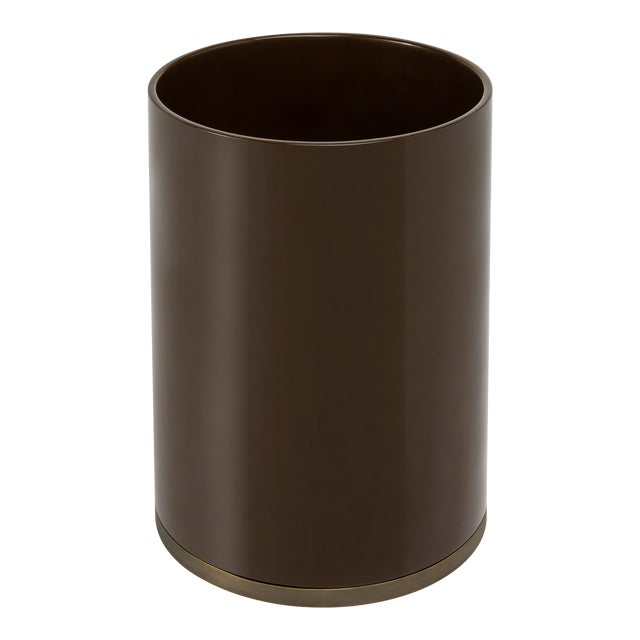 Round Bin in Chocolate - Veere Grenney for The Lacquer Company For Sale