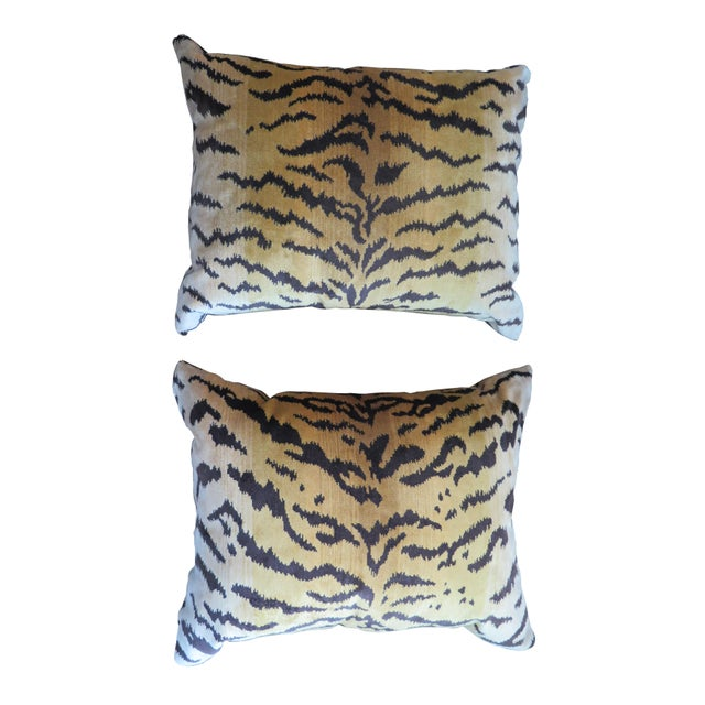 2010s Scalamandré Le Tigre Silk Velvet Pillows For Sale - Image 5 of 5