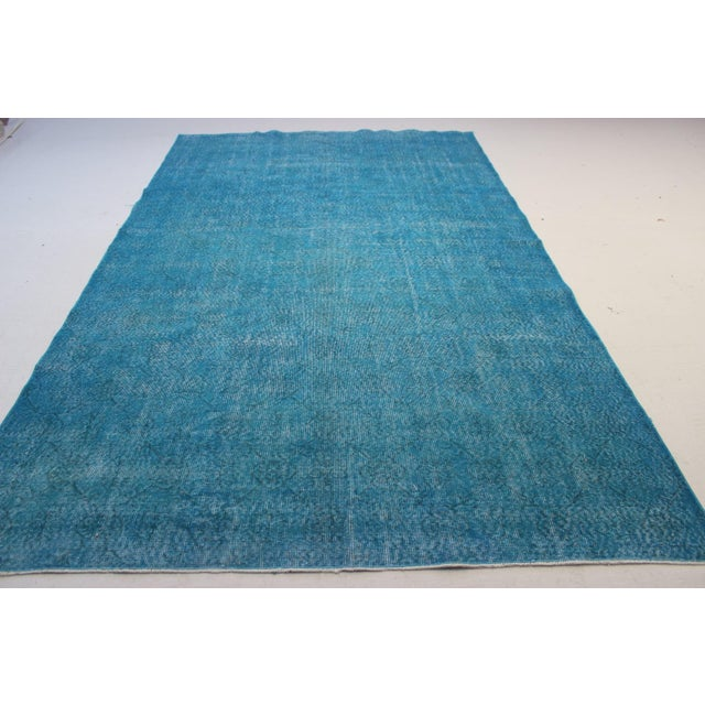 "Turquoise Turkish Over-Dyed Rug - 6'7"" X 10'10"" - Image 4 of 8"
