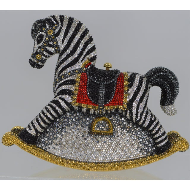Judith Leiber Judith Leiber Rocking Zebra Horse Red Black Evening Minaudière Purse Novelty For Sale - Image 4 of 9