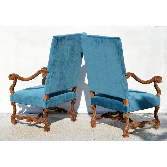 Mohair Louis XIV Style Os De Mouton Armchairs, a Pair For Sale - Image 7 of 12