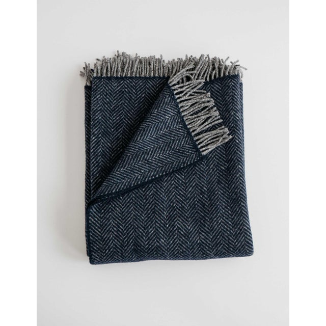 Herringbone Throw in Midnight Blue For Sale - Image 13 of 13