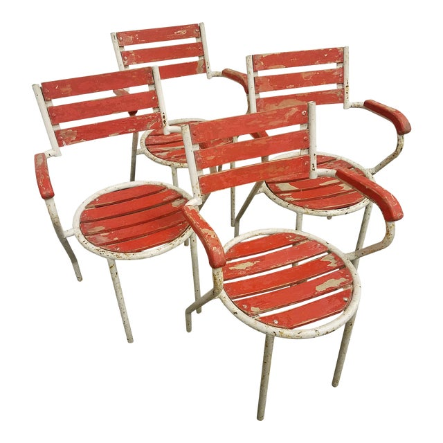 Red-Painted Garden Chairs - Set of 4 - Image 1 of 6