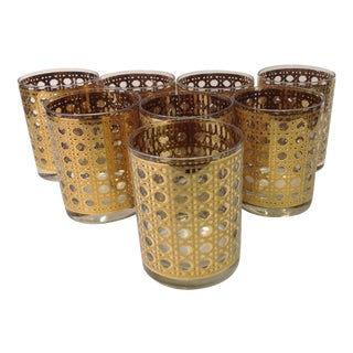 Culver 22kt Gilded Cane Whisky Glasses - Set of 8