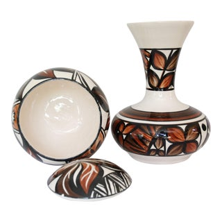 1970s Boho Chic Hawaii Pohaku Ceramic Vase and Covered Bowl - 3 Pieces