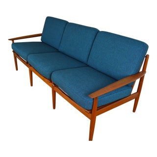 Grete Jalk for Glostrup Danish Teak Three Seat Sofa For Sale