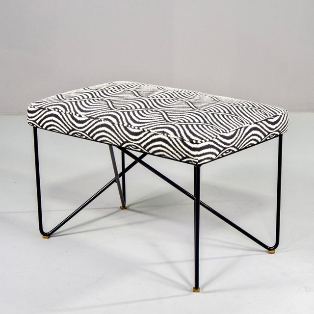 Black Italian Mid-Century Style Bench With Black Iron Hairpin Legs For Sale - Image 8 of 13